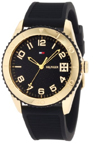 Tommy Hilfiger Women's 1781120 Sport Gold Toned Black Silicon Watch