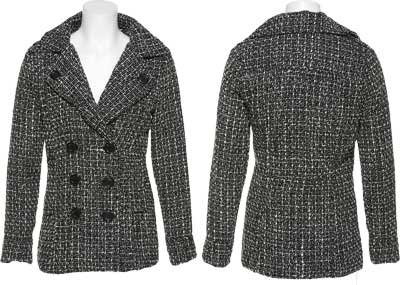 DOLLHOUSE Wool-Blend Tweed Double Breasted Jacket [6872A], Black/Ivory, Large
