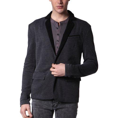 Mens Casual OneButton Blazer Jacket BLACK XL (J113Z)