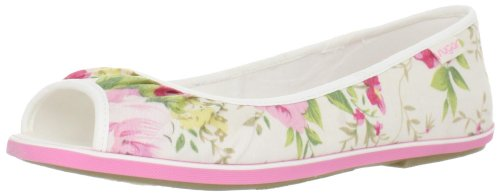 Sugar Women's After Flat,White Roses,8.5 M US