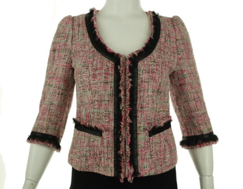INC International Concepts Three Quarter Sleeve Jacket Pink Tweed Large