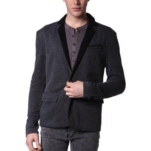 Mens Casual OneButton Blazer Jacket BLACK M (J113Z)