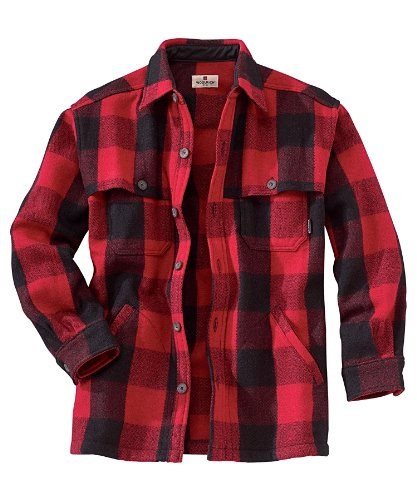 Woolrich Men's Wool Stag Shirt, RED/BLACK (Red), Size M