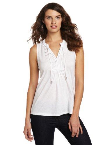 Calvin Klein Jeans Women's Pintuck Tank Top, White, Large