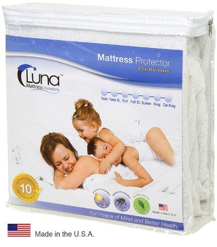 Queen Size Luna Premium Hypoallergenic 100% Waterproof Mattress Protector – 10 Year Warranty – Made In The USA