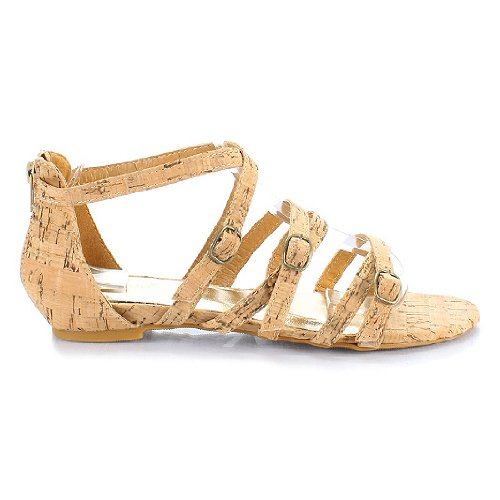 Bamboo Cypress-08 Strappy Open Toe Women's Flat Sandal Natural 8 M US