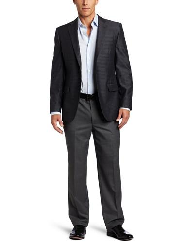 Joseph Abboud Men's 2 Button Side Vent Sport Coat, Navy, 42 Long