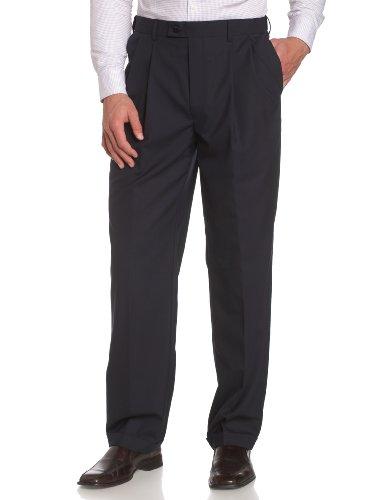 Louis Raphael LUXE Men's 100% Wool Pleated Hidden Extension Dress Pant,Navy,34×30