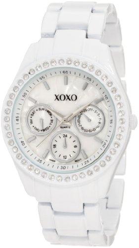 XOXO Women's XO114 Rhinestone Accent White Enamel Bracelet Watch