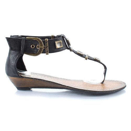 Bamboo Lockin-01 T-Strap Women's Wedge Flat Sandal 8 M US