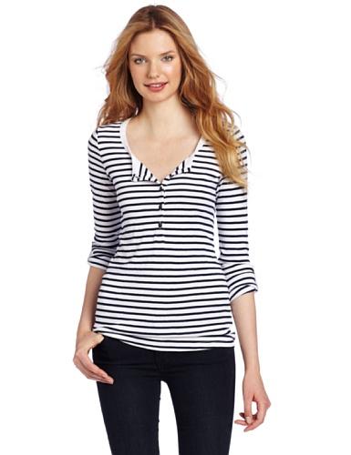 Splendid Women's Stripe Henley Shirt, White, Large