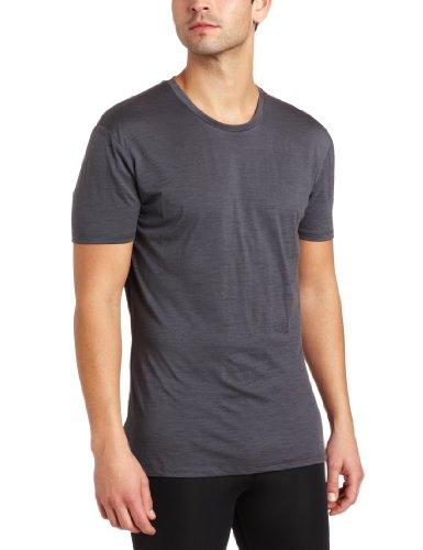 Icebreaker Men's Short Sleeve Apollo Crewe T-Shirt, Pewter/Rocket, Medium