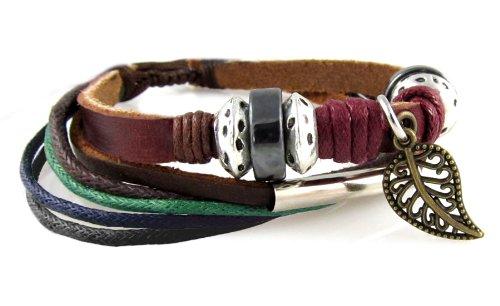 Leaf Design Leather Zen Bracelet – Adjustable, Fits 5.5 to 9 Inches, for Men, Women, Teens, Boys and Girls (Foil Gift Box)