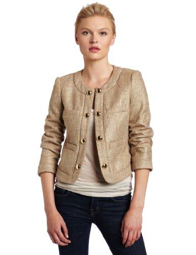 Chaus Women's Gold Tweed Jacket, Pecan, 12