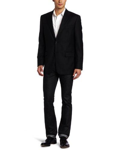 Joseph Abboud Men's Super 120's Two Button Side Vent Blazer, Black, 44 Medium/Regular