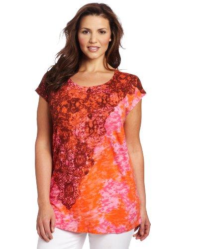 Jones New York Women's Plus-Size Drop Shoulder Knit Top, Floral Pink/Multi, 1X