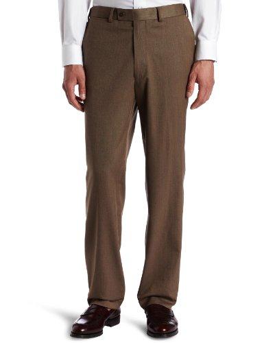 Louis Raphael ROSSO Men's Washable Wool Blend Herringbone Pattern Flat Front Dress Pant,Oat,38X32