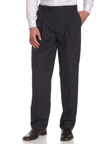Louis Raphael LUXE Men's 100% Wool Pleated Hidden Extension Dress Pant,Navy,34×32