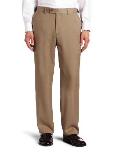 Louis Raphael ROSSO Men's Washable Wool Blend Flat Front Dress Pant, Sand32x32