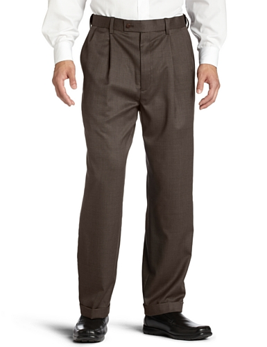 Louis Raphael LUXE Men's 100% Worsted Wool Micro Tic Pleated Hidden Extension Dress Pant,Brown,36×29