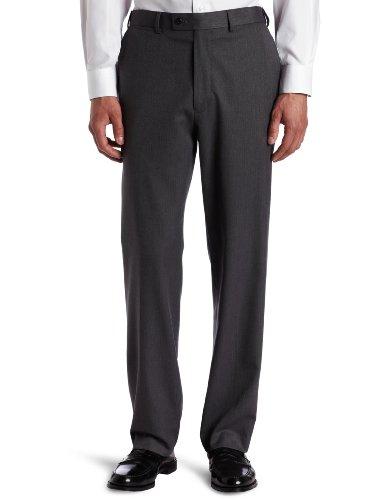 Louis Raphael ROSSO Men's Washable Wool Blend Herringbone Pattern Flat Front Dress Pant,Medium Gray,32X30