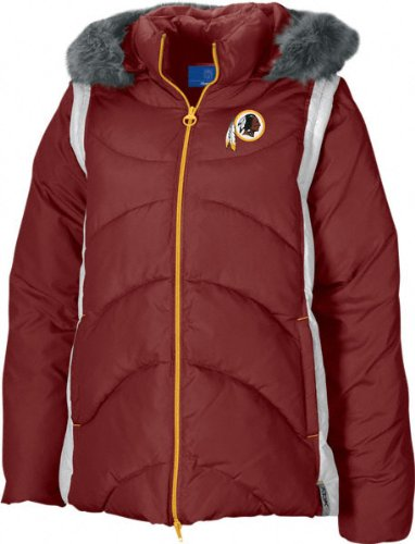 Washington Redskins NFL Women's, 4 in 1 ,Heavy Quilted Parka Jacket, Burgundy (Small)