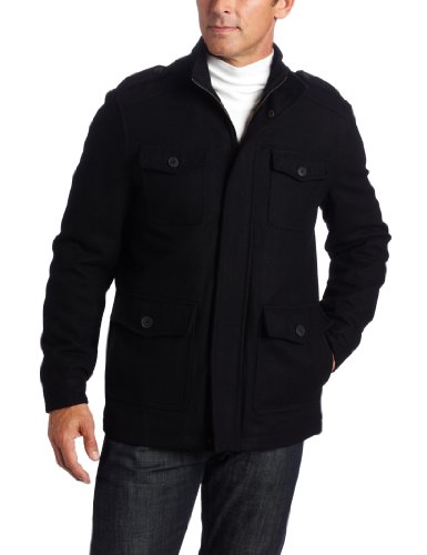 Dockers Men's Wool 4 Pocket Melton Jacket, Black, Medium