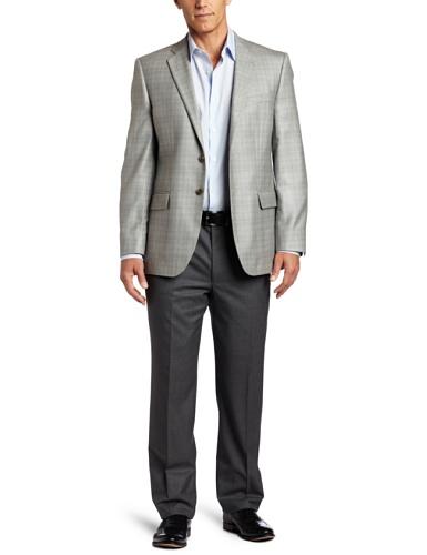 Joseph Abboud Men's 2 Button Side Vent Sport Coat, Grey, 44 Long