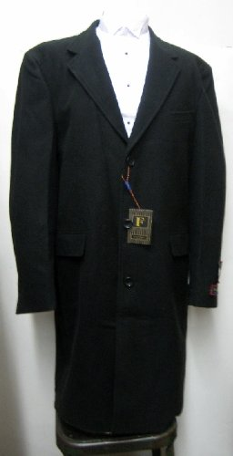 New Men's Full Length Three Button Wool Black Topcoat (Top Coat)