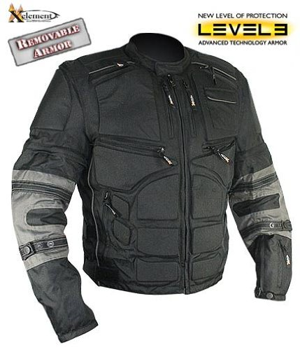 Xelement Mens Black and Gray Level-3 Armored Jacket with Removable Arm Sleeves and Tri-Tex Fabric – Size : 2XL