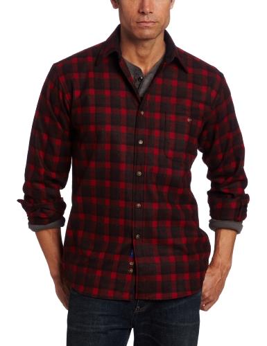 Pendleton Men's Classic Fit Elbow-Patch Trail Shirt, Red Rock/Black Plaid, Medium
