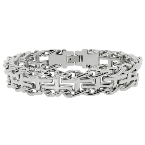 Men's Stainless Steel Railroad with Cross Insets Bracelet, 8.5″