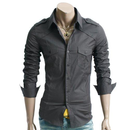 Doublju Mens Casual Shoulder Strap Pocket Slim Dress Shirts CHARCOAL L (CJL)