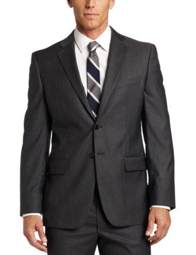Joseph Abboud Men's 2 Button Side Vent Suit With Flat Front Pant, Grey, 38 Medium/Regular
