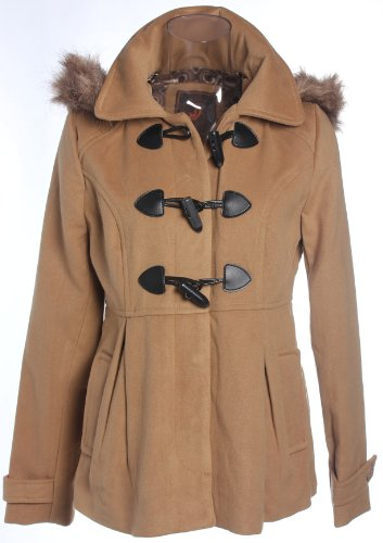 Dollhouse Wool Blend Toggle Duffel Coat w/ Fur Lined Hood in Crème Brule
