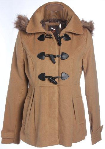 Dollhouse Wool Blend Toggle Duffel Coat w/ Fur Lined Hood in Crème Brule