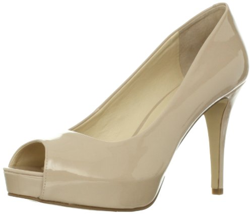 Nine West Women's Camya Peep-Toe Pump,Natural Synthetic,7 M US