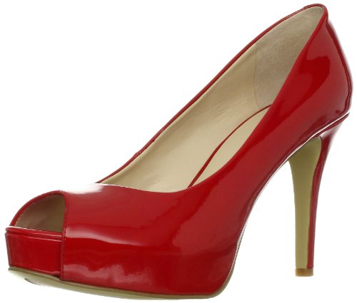 Nine West Women's Camya Peep-Toe Pump,Red Synthetic,6 M US