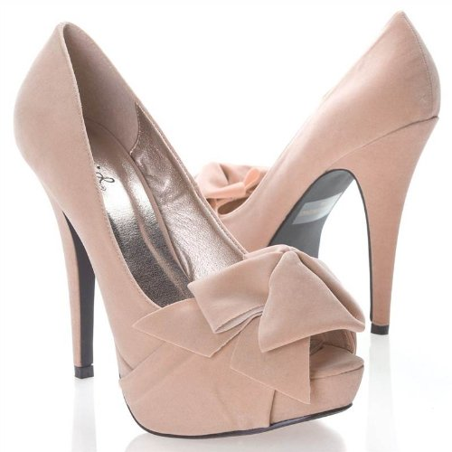 Qupid Women's Shoe With Peen Toe Bow And Platform High Heel- Color: Nude Beige Size: 6.5
