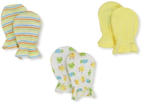 Gerber Unisex-Baby Newborn Ducks 3 Pack Mitten, Yellow/White, 0-3 Months