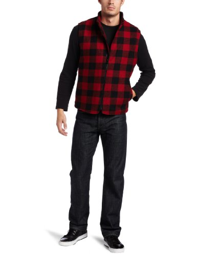 Irish Setter Men's Field Camp Wool-Blend Field Vest (Red/Black Plaid, X-Large)