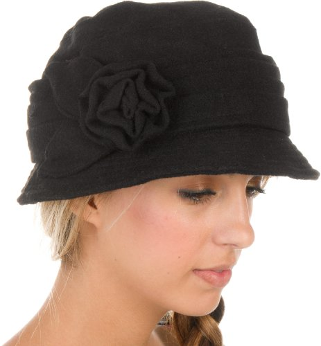 EH3941LC – Sakkas Womens Wool Blend Foldable Cloche Bucket Winter Hat with Flower Accent – Black/One Size