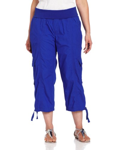 Calvin Klein Performance Women's Plus-Size Roll Waist Cargo Capri, Bright Sky, 1X