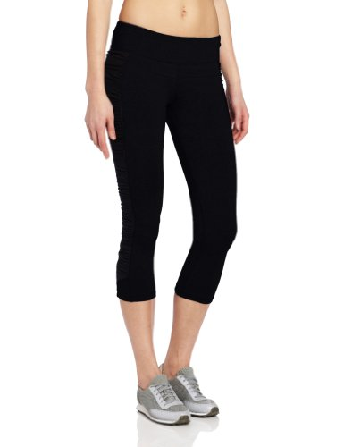 Calvin Klein Performance Women's Rouched Capri Legging With Body Shaping Panel, Black, Small