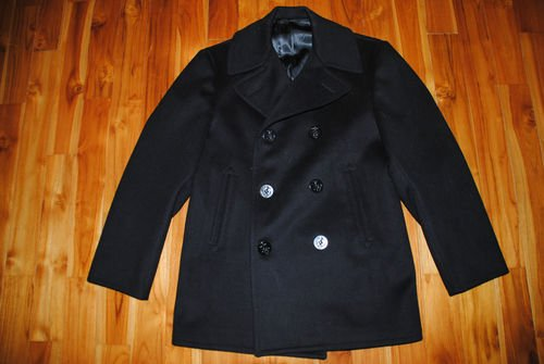 VINTAGE 1970 VIETNAM ERA US NAVY BLACK COAT MAN'S WOOL KERSEY PEACOAT – 38S