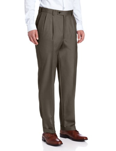 Louis Raphael Men's Luxe Pleated Hidden Extension Dress Pant, Bark, 40×30