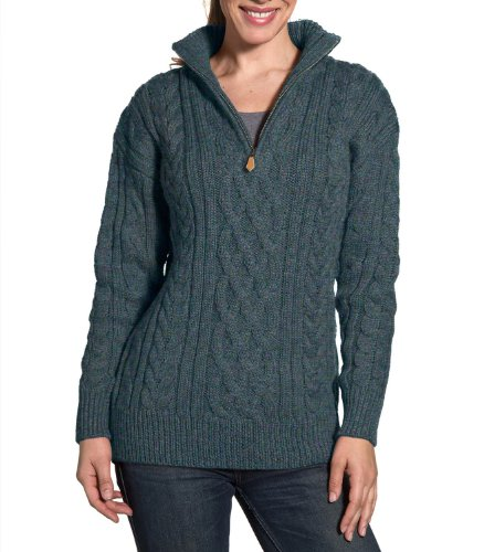 Wool Overs Womens Aran Cable Zip Neck Sweater Kiltimagh Small