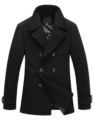 Match Mens Wool Winter Coat Slim Fit Pea Coat(Label size Large(US Small),010-Black)