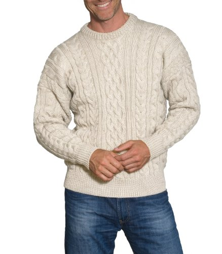 Wool Overs Mens Aran Sweater Cream Large