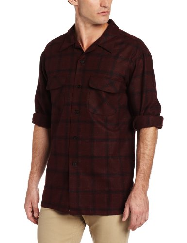 Pendleton Men's Classic Fit Board Shirt, Maroon/Brick Plaid, Large